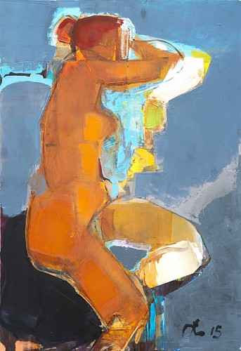 Serhiy Hai - Untitled, Brown Nude, Blue Background, 2015