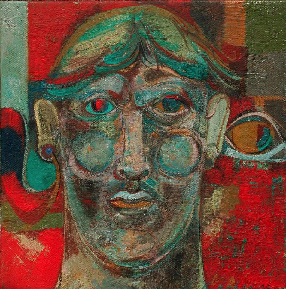 Stewart Helm ,   Argentine-Red & Green Head  ,  2014     oil on board ,  7.85