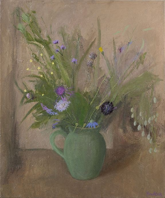 Haidee Becker ,   Jug, Two Scabia and Summer Flowers  ,  2016     oil on canvas ,  24