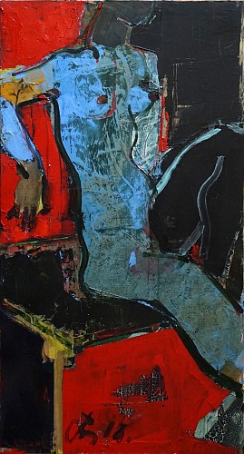 Serhiy Hai - Seated Figure, (Red, Black, & Blue), 2015