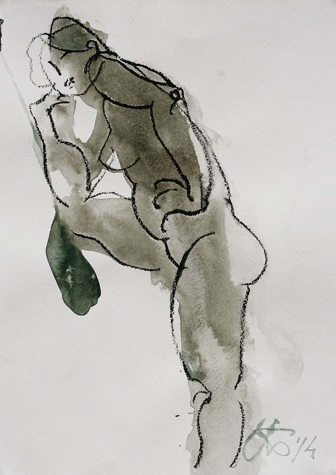 Serhiy Hai ,   Female Nude (Arm on Knee)  ,  2014     Ink wash and oil pastel on paper ,  17
