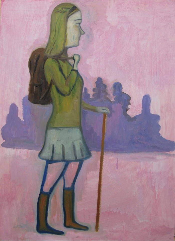 Stephanus Heidacker ,   Girl with Back Pack  ,  2013     oil on paper ,  27 1/2 x 19 1/2 in.     STEPH - 345     Price Upon Request