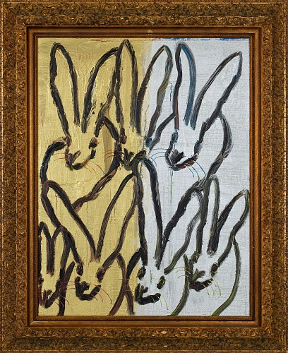 Exhibition: Hunt Slonem, Work: Untitled/ Multi Silver & Gold Bunnies, 2018