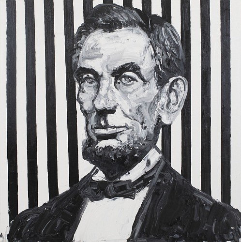 Hunt Slonem - Lincoln/Black & White with Stripes, 2019