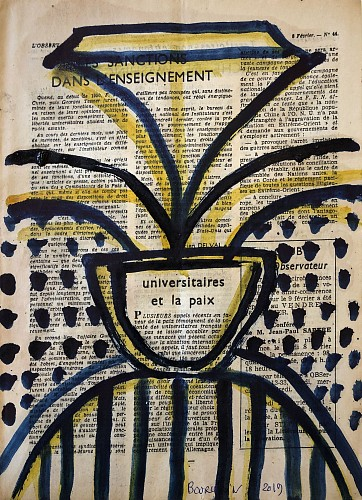 Jean-Pierre Bourquin - Untitled/ ink on vintage French news print / cream paper with multi color inks, 2019