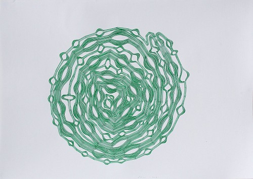 Stewart Helm - Abstract -Round Green-(Untitled), 2018