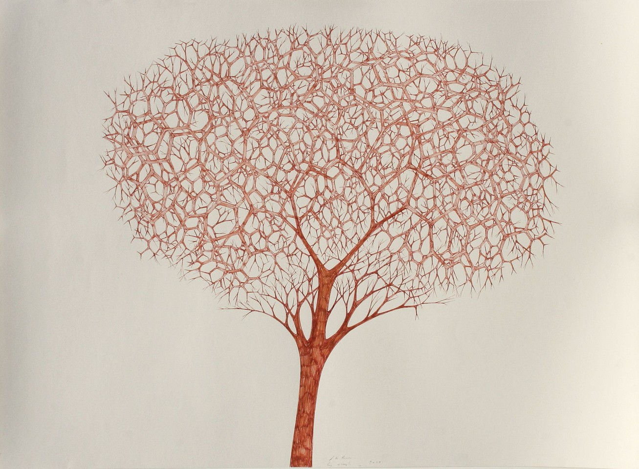 Stewart Helm ,   Abstract -Tree II-(Untitled)  ,  2018     colored inks on paper ,  22 x 30 in. (55.9 x 76.2 cm)     SH-602     Price Upon Request