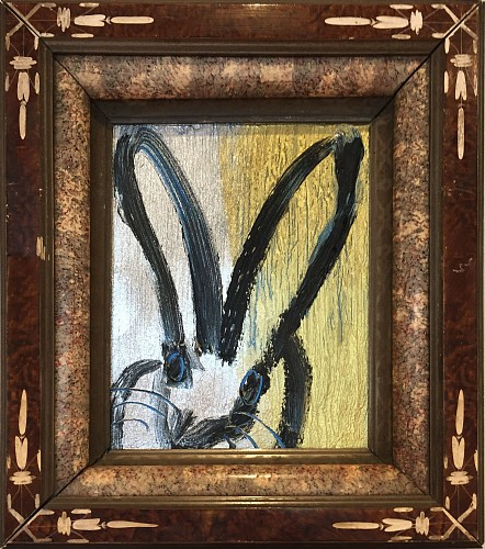 Hunt Slonem - Untitled / Black & Blue Outlined Bunny, 2019