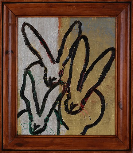 <i>Untitled Three Bunnies, Silver and Gold Metallic</i>, 2019