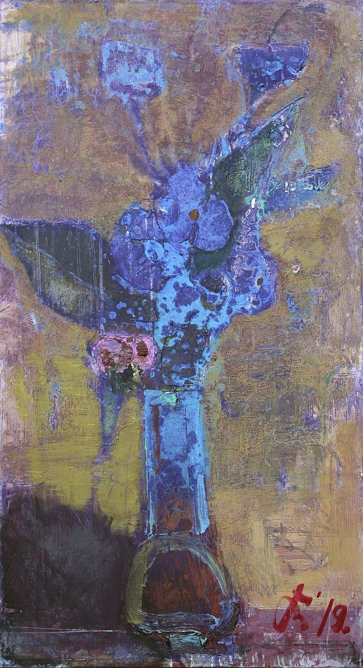 Serhiy Hai ,   Still Life Flowers, Purple & Blue  ,  2019     Oil & Acrylic on canvas ,  44 x 24 in. (111.8 x 59.7 cm)     SY 108     Price Upon Request
