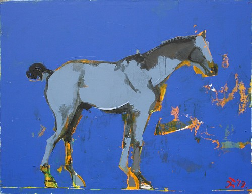 Serhiy Hai - Horse on Blue, 2019