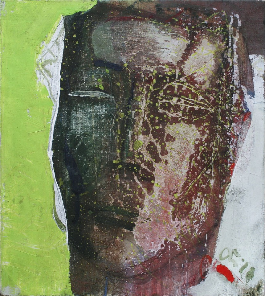 Serhiy Hai ,   Large Portrait in Rust And Green  ,  2018     Oil & Acrylic on canvas ,  39 x 36 in. (99.1 x 90.2 cm)     SY 112     Price Upon Request