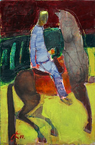 Exhibition: Serhiy Hai - New Paintings, Work: Man and Horse in Field, 2019