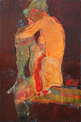 Exhibition: Serhiy Hai - New Paintings, Work: Seated Nude Orange, 2018
