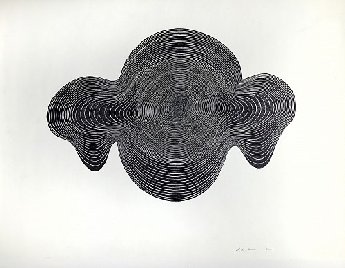 Exhibition: Organized Abstraction — a Group Show featuring Seven Artists, Work: Stewart Helm Black Dropping Spheres, Continuous Line Drawing, 2019