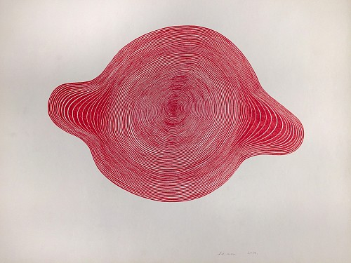 Exhibition: Organized Abstraction — a Group Show featuring Seven Artists, Work: Stewart Helm Red Orb Shaped Continuous Line Drawing, 2019