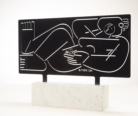 America Martin ,   Woman Reclines with Flower, Edition 1 of 1  ,  2020     Powder Coated Steel in Black ,  28 x 24 in. (71.1 x 59.7 cm)     ACM 316     $7,500