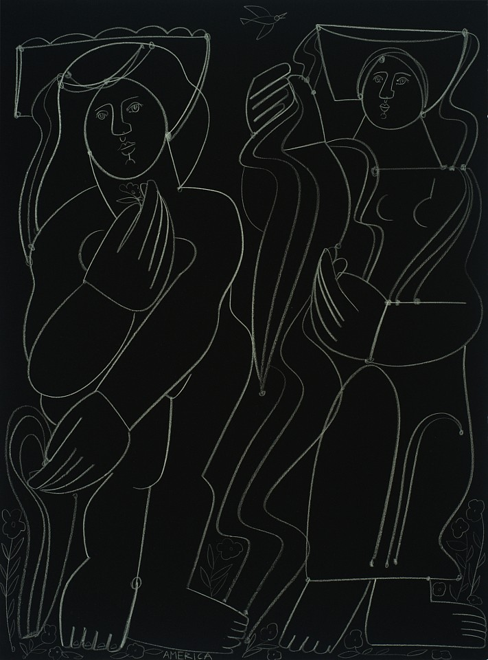 America Martin ,   Two Maidens After A Swim  ,  2020     Clay pencil on cotton paper ,  30 x 23 in. (76.2 x 57.1 cm)     contemporary, figures, black and white     ACM 320     $4,400