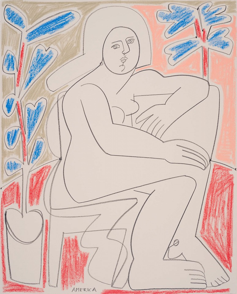America Martin ,   Woman Sits by Potted Plant  ,  2020     colored wax, pencil on paper ,  28 x 23 in. (71.1 x 57.1 cm)     ACM 334     Price Upon Request