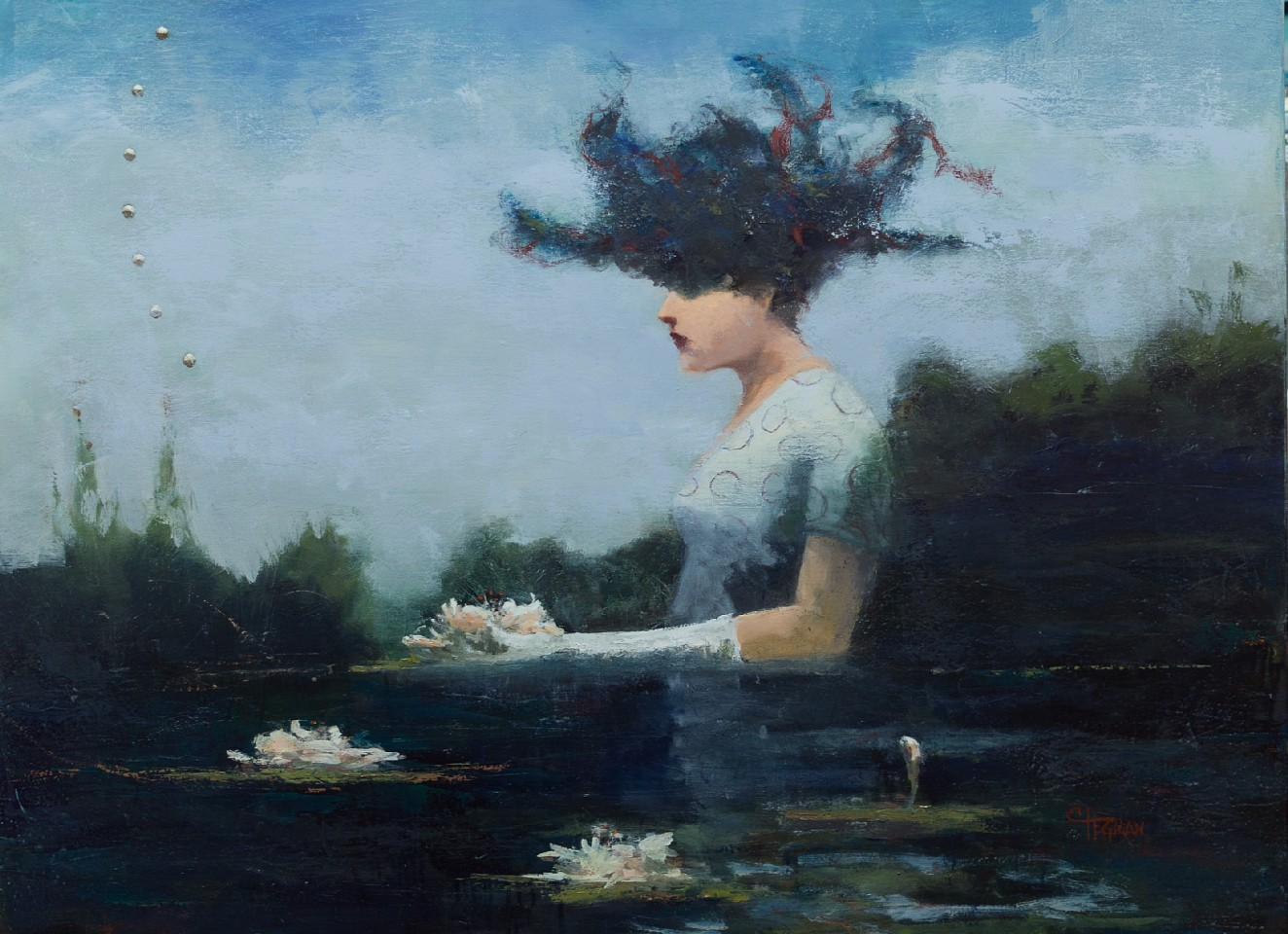 Cathy Hegman ,   Lifting Lilies  ,  2020     oil on canvas ,  36