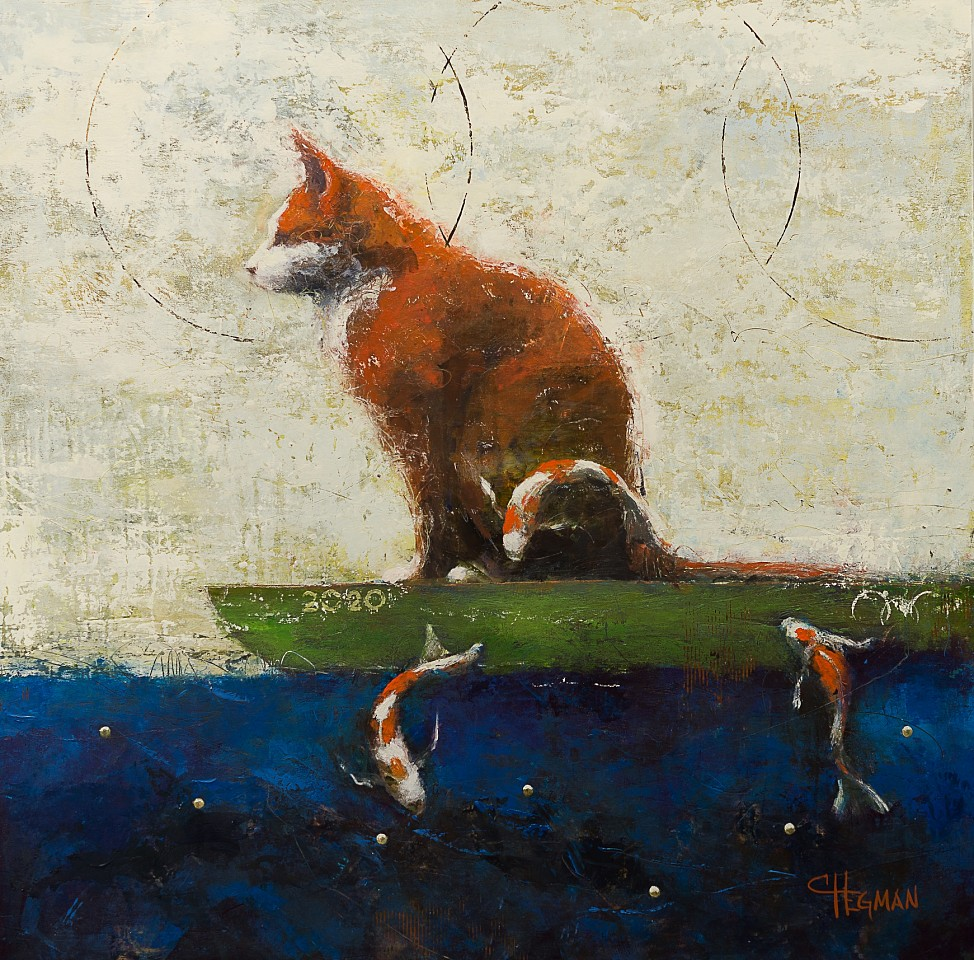 Cathy Hegman ,   Cat Fisher  ,  2020     oil on wood panel ,  36 x 36 in. (91.4 x 91.4 cm)     CH 128     $12,275