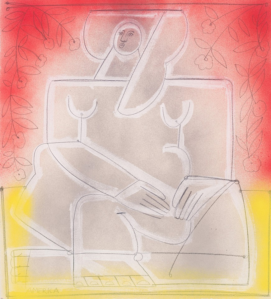 America Martin ,   Woman Sits and Looks Ahead  ,  2020     Pencil & Acrylic on paper ,  24 3/4 x 22 1/4 in.     ACM 348     $3,900