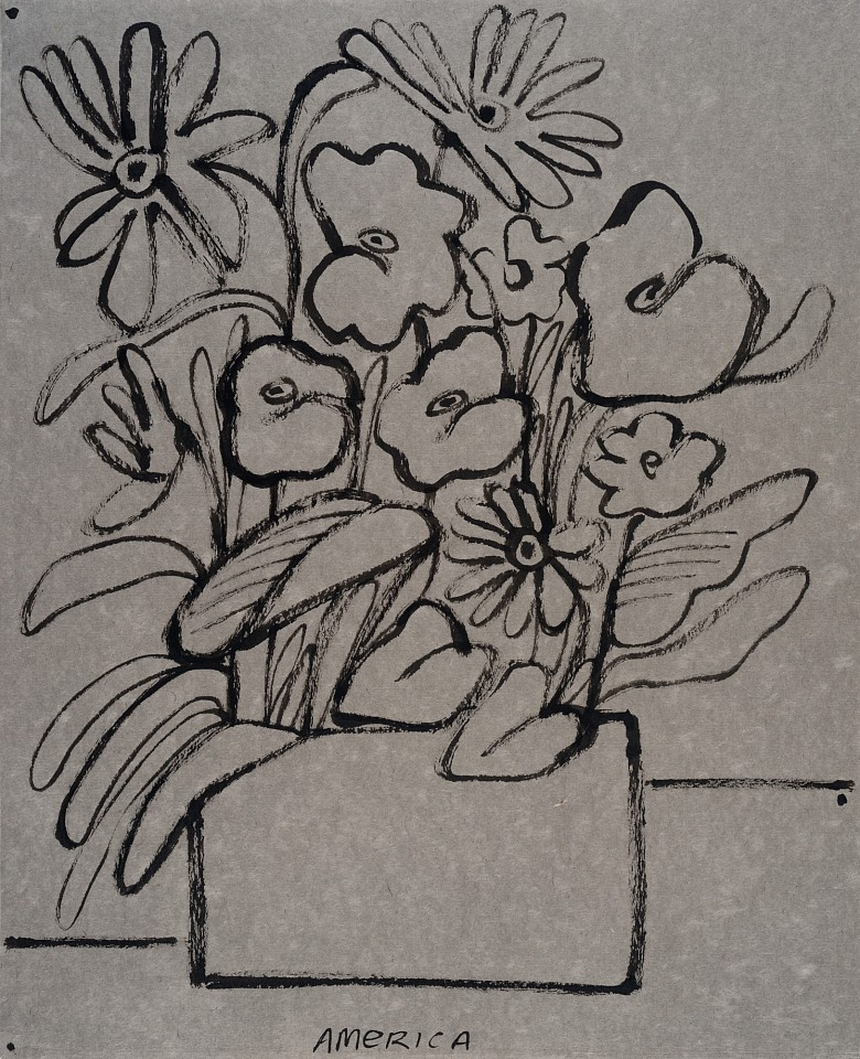 America Martin ,   Diasy, Geranium, Follow Leaf and Safe  ,  2020     ink on paper ,  24 1/2 x 20 in.     ACM 353     $3,800