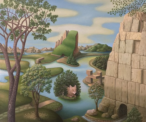 Exhibition: The Mysterious World: Charles Keiger, Steve Moors, Melissa Sims &  Mario Soria, Work: Charles Keiger Landscape With Cat, 2020
