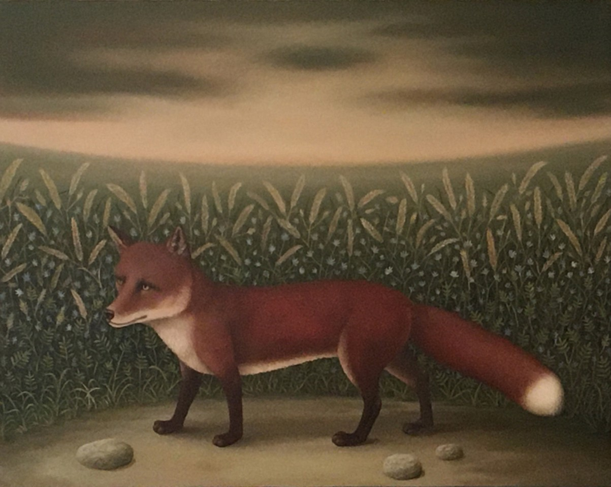 Charles Keiger ,   The Medow (Red Fox)  ,  2020     oil on canvas ,  22