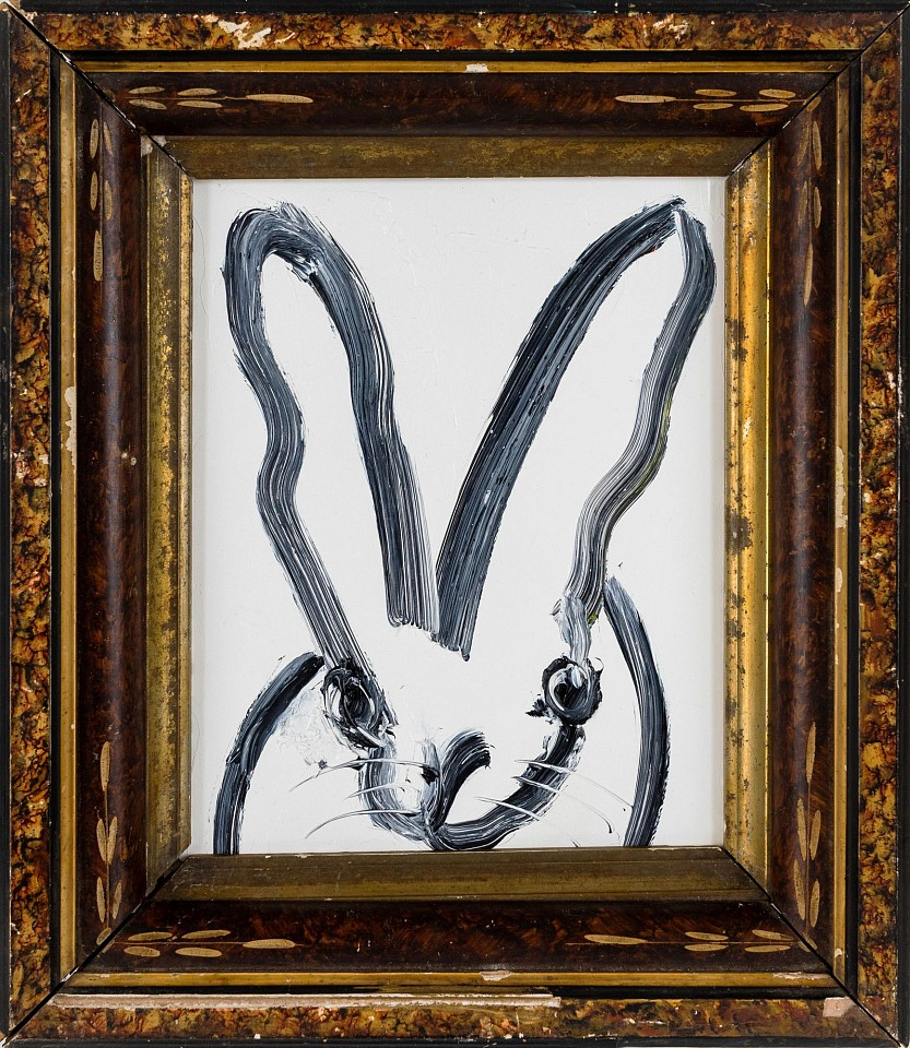 Hunt Slonem ,   Black and White Bunny  ,  2020     oil on wood panel ,  10