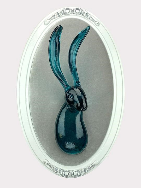 Hunt Slonem ,   Lucius  ,  2020     Blown glass sculpture, mounted to velvet and  carved wooden frame. ,  27